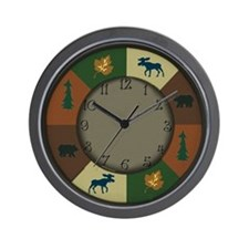 Bear Moose Lodge Rustic Wall Clock