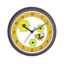 Springtime Bee Happy Wall Clock