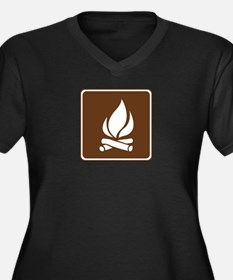 Campfire Sign Women's Plus Size V-Neck Dark T-Shir