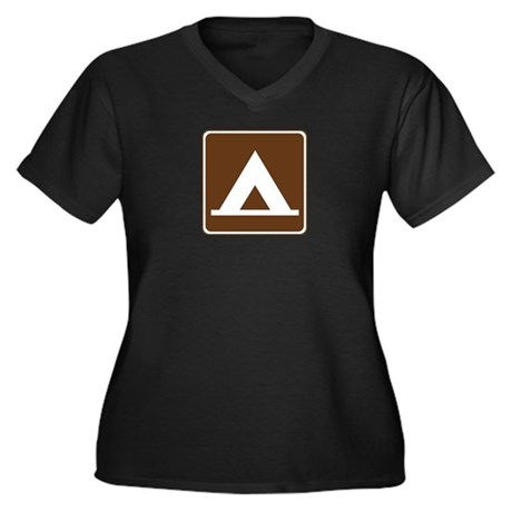 Camping Tent Sign Women's Plus Size V-Neck Dark T-