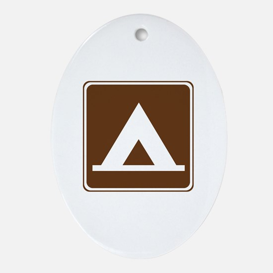 Camping Tent Sign Ornament (Oval)