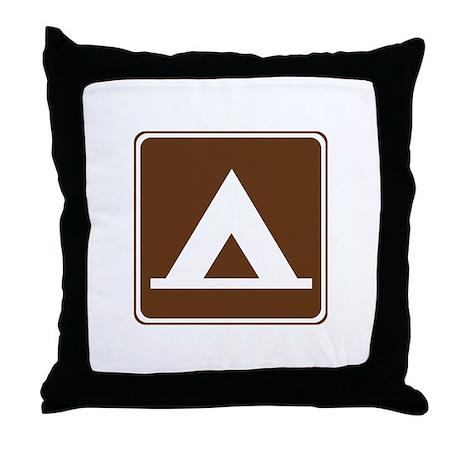 Camping Tent Sign Throw Pillow