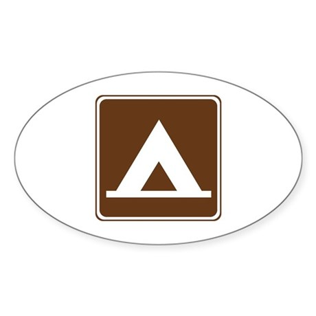 Camping Tent Sign Sticker (Oval 50 pk)