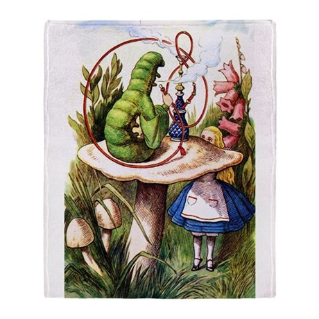 Alice and the Caterpillar Throw Blanket