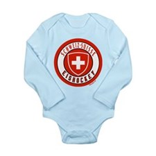 Switzerland Ice Hockey Long Sleeve Infant Bodysuit