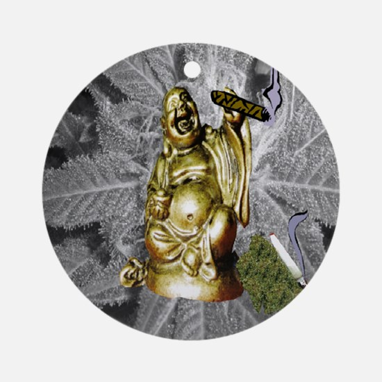 BUDDHA SMOKING BLUNT Ornament (Round)