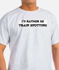 Rather be Train Spotting Ash Grey T-Shirt