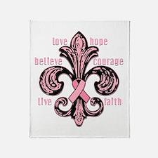 Pink Fleur Ribbon Throw Blanket