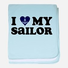 I Love My Sailor baby blanket