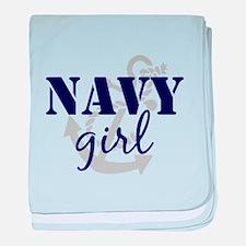 Navy Girl baby blanket