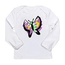 Purple Butterfly Long Sleeve Infant T-Shirt