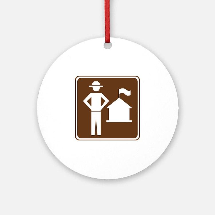 Ranger Station Sign Ornament (Round)