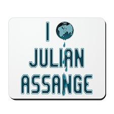 I Love Julian Assange Wikileaks Mousepad