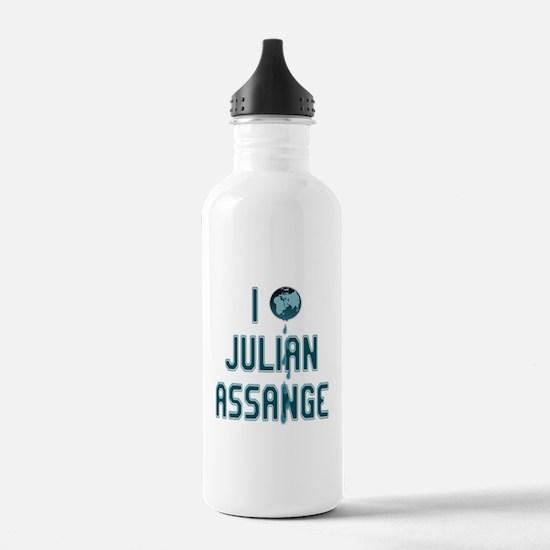 I Love Julian Assange Wikileaks Water Bottle