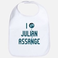 I Love Julian Assange Wikileaks Bib