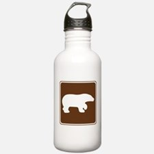 Brown Bear Viewing Sign Water Bottle
