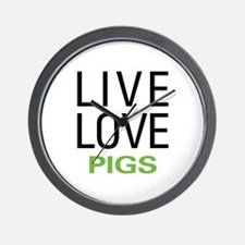 Live Love Pigs Wall Clock