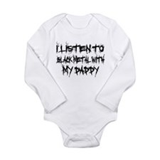 Black Metal With Daddy Long Sleeve Infant Bodysuit