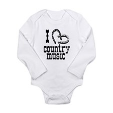 I Love Country Music Long Sleeve Infant Bodysuit