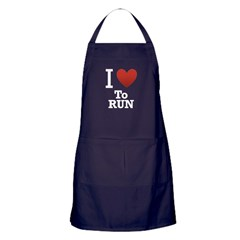 I Love to Run Apron (dark)