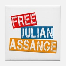 Free Julian Assange Tile Coaster