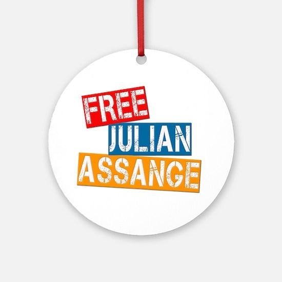 Free Julian Assange Ornament (Round)