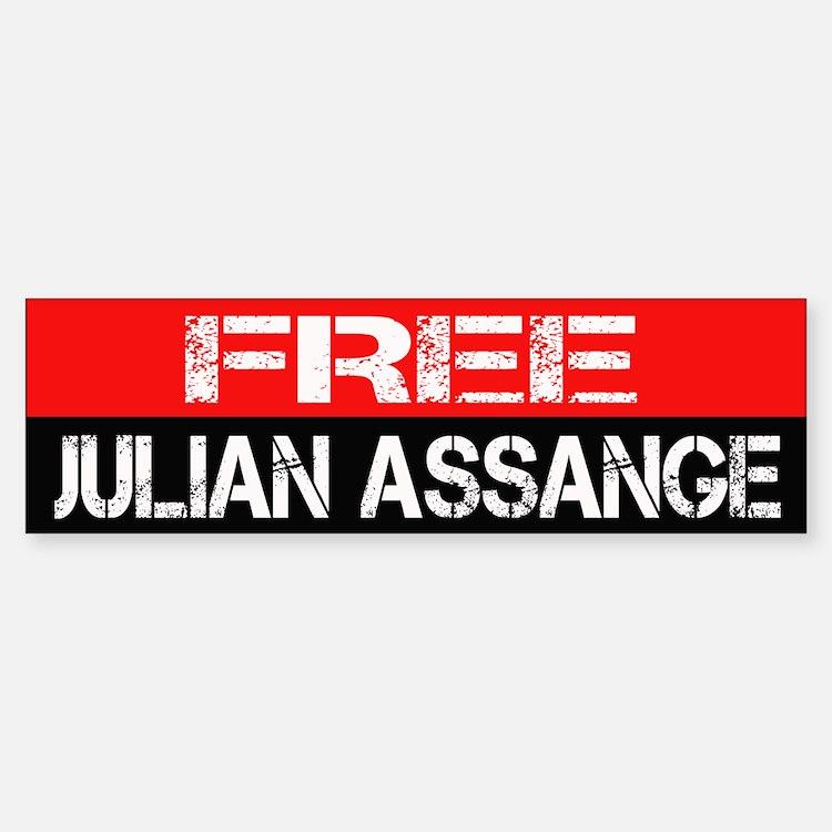 Free Julian Assange Bumpersticker Sticker (Bumper)