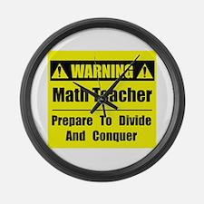 WARNING: Math Teacher 1 Large Wall Clock