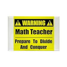 WARNING: Math Teacher 1 Rectangle Magnet (100 pack