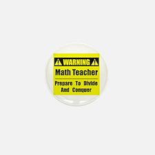WARNING: Math Teacher 1 Mini Button (10 pack)