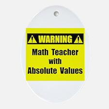WARNING: Math Teacher 2 Ornament (Oval)
