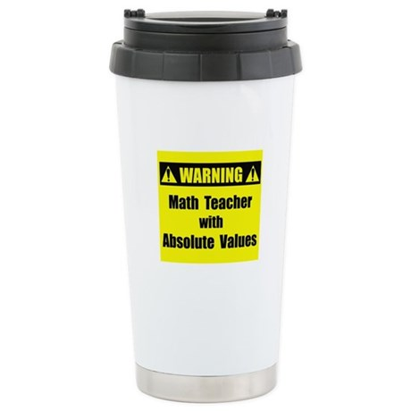 WARNING: Math Teacher 2 Stainless Steel Travel Mug
