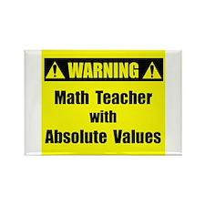 WARNING: Math Teacher 2 Rectangle Magnet