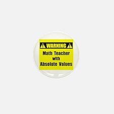 WARNING: Math Teacher 2 Mini Button (10 pack)
