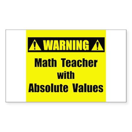 WARNING: Math Teacher 2 Sticker (Rectangle)