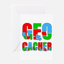 Patchwork Geocacher Greeting Card
