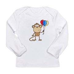 Monkey with Balloons Long Sleeve Infant T-Shirt