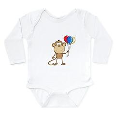 Monkey with Balloons Long Sleeve Infant Bodysuit