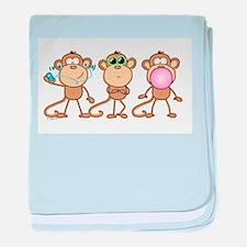 Hear See Speak No Evil Monkey baby blanket