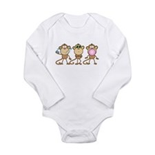 Hear See Speak No Evil Monkey Long Sleeve Infant B