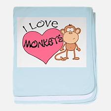 I Love Monkeys baby blanket