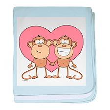 Monkey Love Couple baby blanket