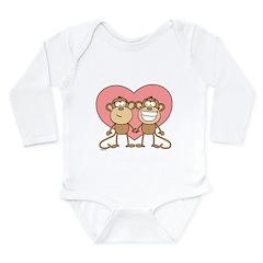 Monkey Love Couple Long Sleeve Infant Bodysuit