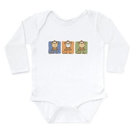 Monkey Trio Long Sleeve Infant Bodysuit
