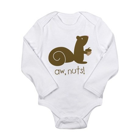Aw Nuts Squirrel Long Sleeve Infant Bodysuit
