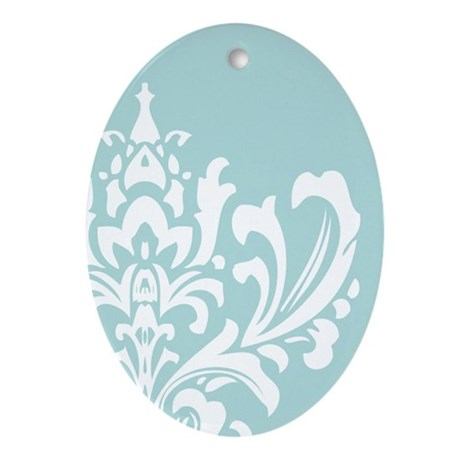Winter Holiday Ice Blue Ornament (Oval)