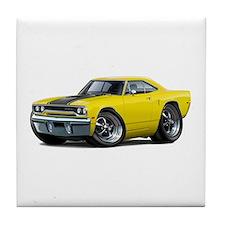 1970 Roadrunner Yellow-Black Car Tile Coaster