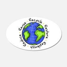 Recycle - Reduce - Reuse - Replenish Sticker (Oval