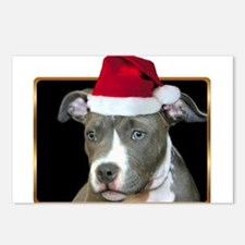 Christmas Pitbull Pup Postcards (Package of 8)