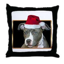Christmas Pitbull Pup Throw Pillow